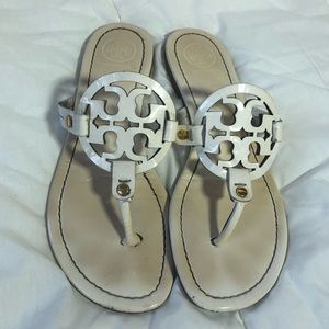 Tory Burch White Patent Leather Miller Sandals